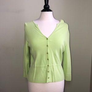 Talbots Lime Green Nylon Cardigan